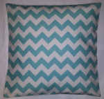 "Cushion Cover in Riley Blake Chevron Aqua White Stripe 14"" 16"" 18"" 20"""